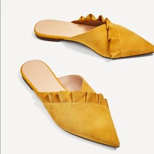 Zara Leather Yellow Mules with Frill